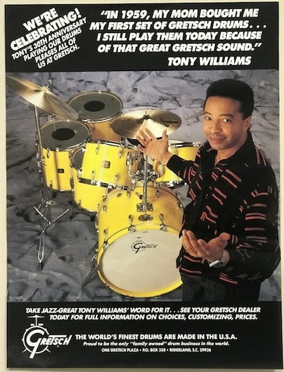 Tony Williams Gretsch Drum Poster, Vintage,  - Gretsch Gear