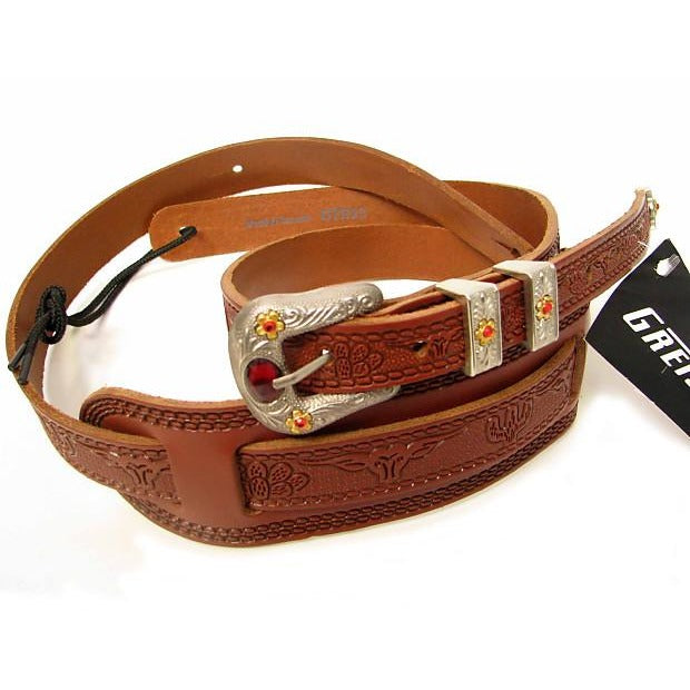 Gretsch Tooled Leather Guitar Strap - Walnut - Gretschgear