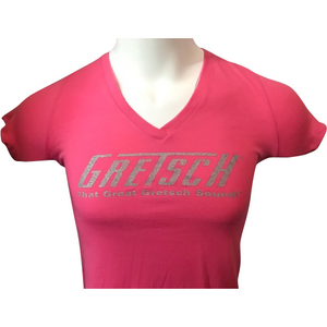 Shirt, Ladies Gretsch V-Neck (Hot Pink) - GretschGear