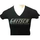 Shirt, Ladies Gretsch V-Neck (Black) - Gretschgear