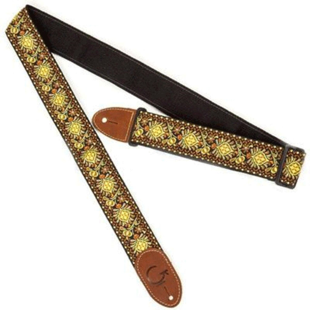 Gretsch G Brand Strap Yellow/Orange with Brown Ends - Gretschgear