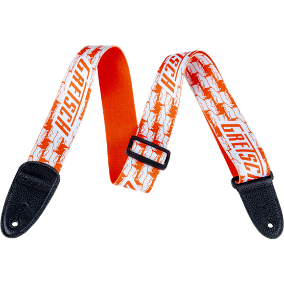 NEW!! Gretsch Alternating Penguin Poly Strap_Orange and White,  - Gretsch Gear
