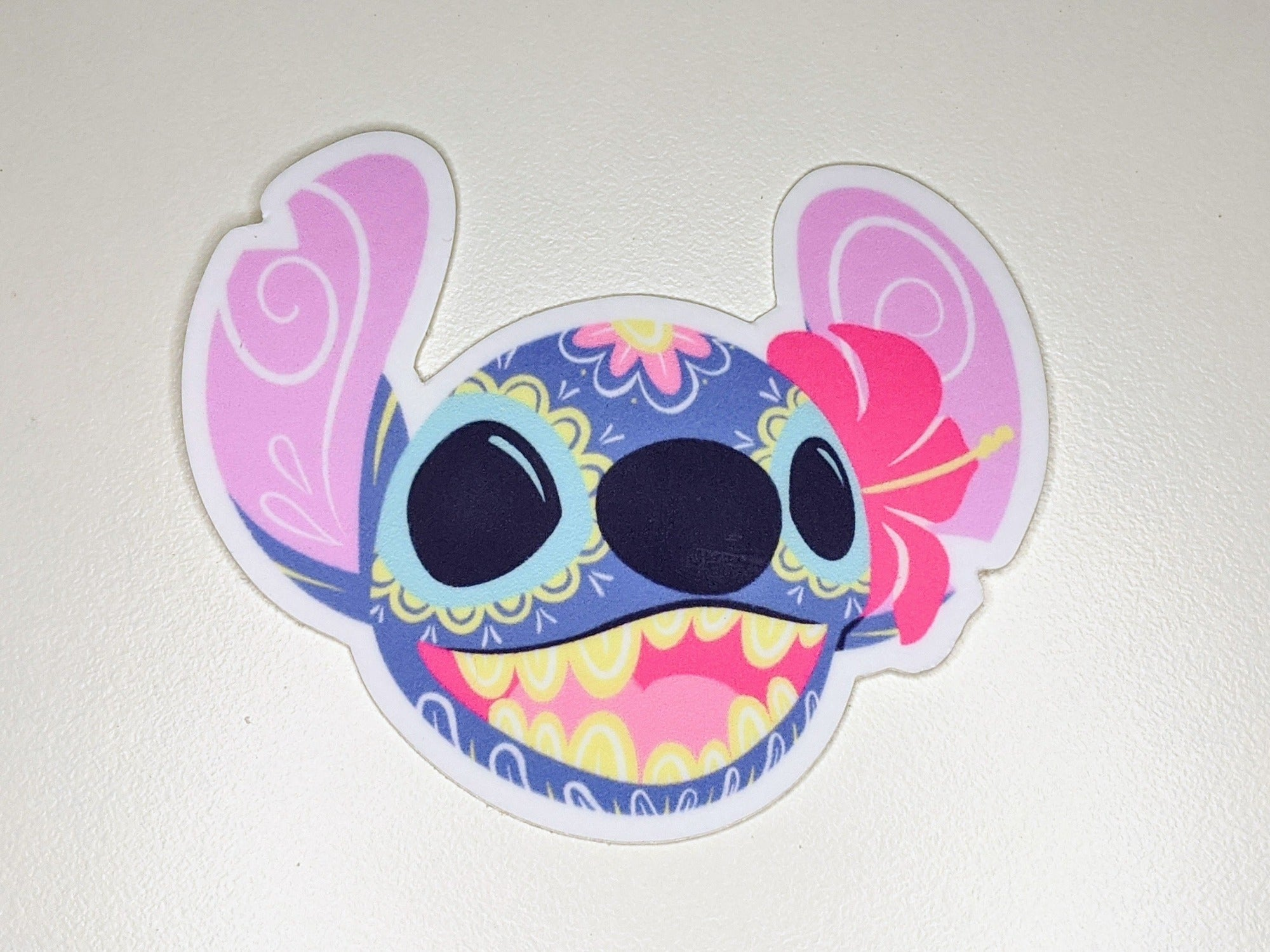 stich sugar skull vinyl sticker on white background