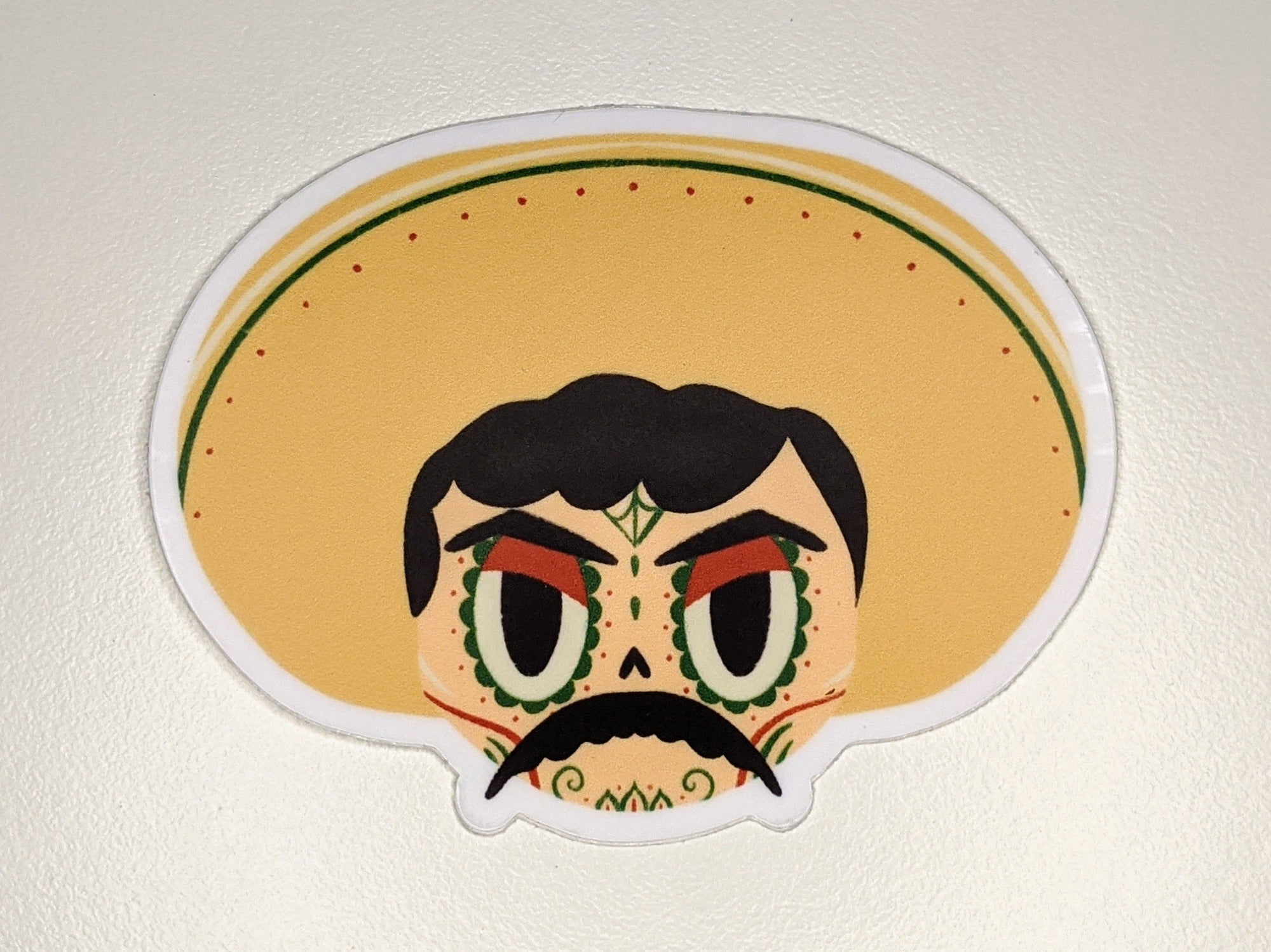 elimiliano zapata mexican revolutionary sugar skull vinyl sticker on white background
