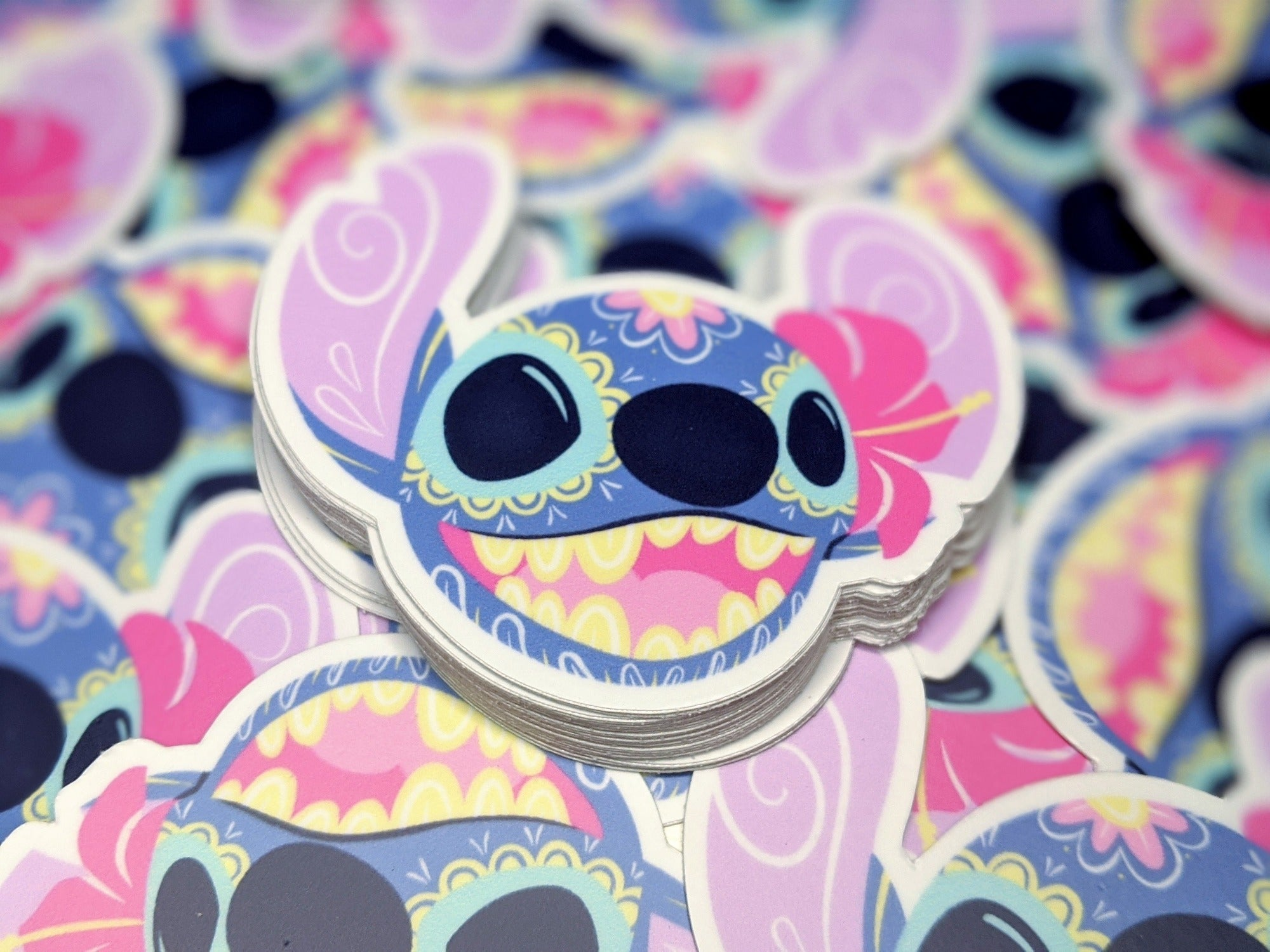stich sugar skull vinyl sticker