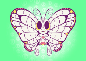 Butterfree - Pokémon Day of the Dead Mashup Art Print