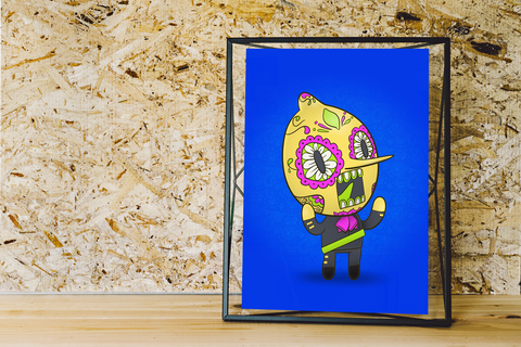 Lemongrab - Adventure Time | Day of the Dead Mashup Art Print