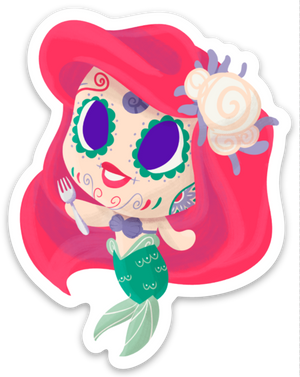 "Ariel - The Little Mermaid | Day of the Dead 3""x3"" Sticker"