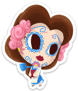 "Belle - Beauty and the Beast | Day of the Dead 3""x3"" Sticker"