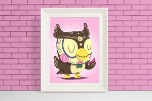blathers animal crossing sugar skull print gift