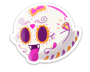 "Boo - Nintendo and Mario Party| Day of the Dead 3""x3"" Sticker"