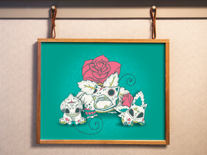 Bulbasaur Evolutions - Pokémon Day of the Dead Mashup Art Print