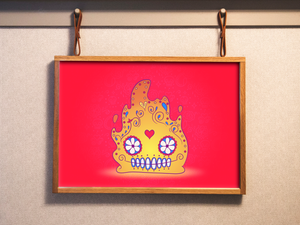 Calcifer - Howl's Moving Castle | Day of the Dead Mashup Art Print