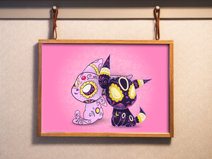 Espeon and Umbreon - Pokemon | Day of the Dead Mashup Art Print