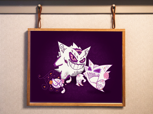 Ghostly Trio Gastly, Haunter, Gengar - Pokémon Day of the Dead Mashup Art Print