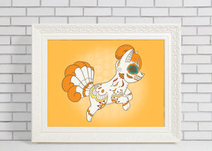 Vulpix - Pokémon Day of the Dead Mashup Art Print
