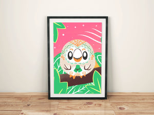 Rowlet - Pokémon Day of the Dead Mashup Art Print