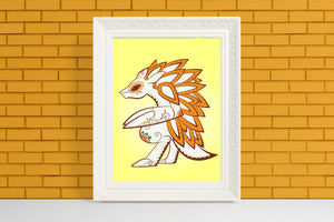Sandslash - Pokémon Day of the Dead Mashup Art Print