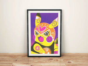 Pikachu Libre - Pokémon Day of the Dead Mashup Art Print