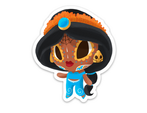 "Jasmine - Aladdin | Day of the Dead 3""x3"" Sticker"