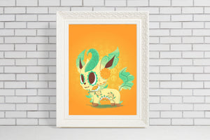 Leafeon - Pokemon Eeveelution | Day of the Dead Mashup Art Print