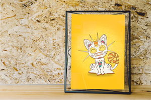 Meowth - Pokémon Day of the Dead Mashup Art Print