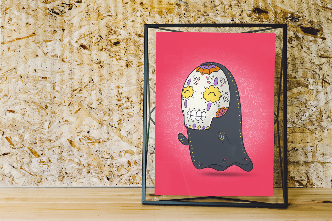 No Face Spirit - Spirited Away | Day of the Dead Mashup Art Print