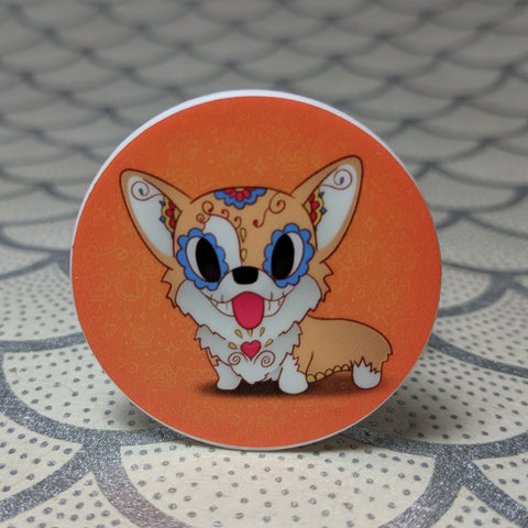 Pickles the Corgi - Dog Breed Phone Holder | Day of the Dead Mashup