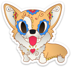 pickles the corgi sugar skull sticker