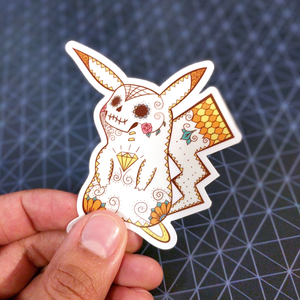 "Pikachu - Pokemon | Day of the Dead 3""x3"" Sticker"