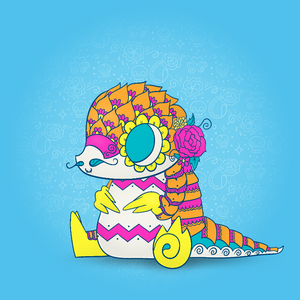 Pangolin | Day of the Dead Mashup Art Print