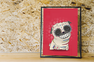 The Pug - Dogs | Day of the Dead Mashup Art Print