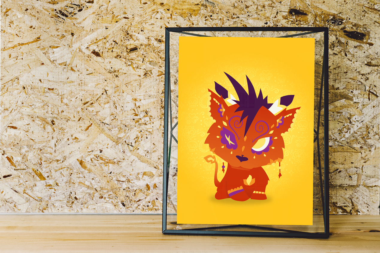 Red XIII - Final Fantasy VII | Day of the Dead Mashup Art Print