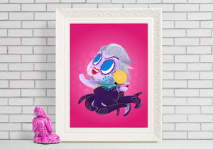 Ursula - Little Mermaid | Day of the Dead Mashup Art Print
