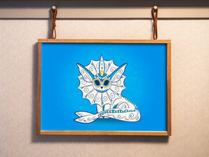 Vaporeon - Pokémon Day of the Dead Mashup Art Print