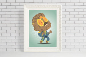 the wolf man sugar skull illustration gift