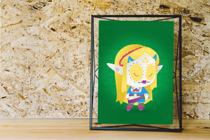 Zelda - The Legend of Zelda | Day of the Dead Mashup Art Print