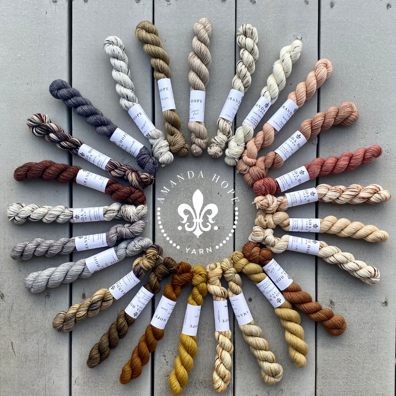 PREORDER  Ships by 1/15/2021 ⚜️ I LOVE NEUTRALS! Yarn Kit of 25 mini skeins, 20 grams each (approx. 88 yards)