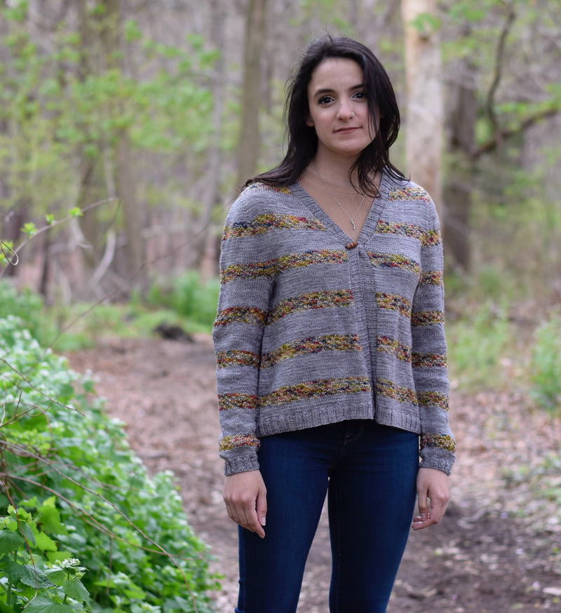 Cattail Cardigan (design by Papermoon Knits) Yarn in Original Colors, Aussie Extra Fine Sport