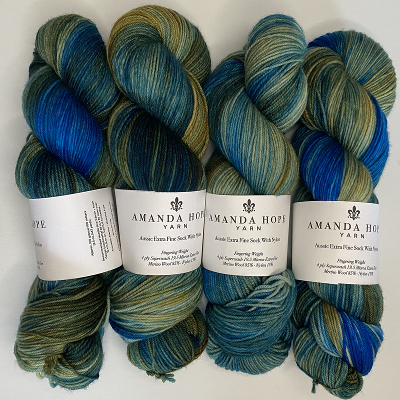 Nocturne: Blue & Gold, Aussie Extra Fine Sock with Nylon
