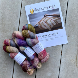 Birds of A Feather Yarn & Pattern, 2 Aussie Extra Fine Single & 1 Mohair/Silk(50 grams)