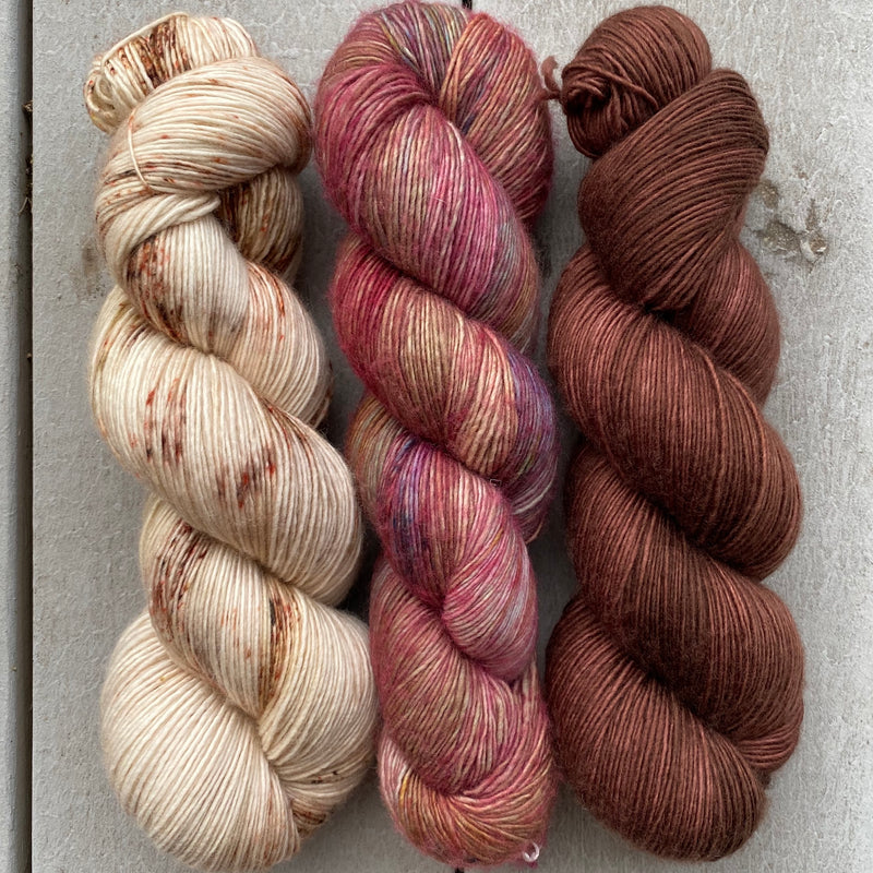 Trio of Aussie Extra Fine Single in Sika, Sugar Plum Fairy, and Milk Chocolate (used by Knitgraffiti in upcoming new design)