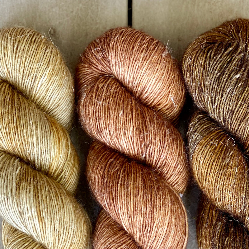 Trio of Merino Linen (fingering weight), Wheat, Baby Bella & Oil Rubbed Bronze