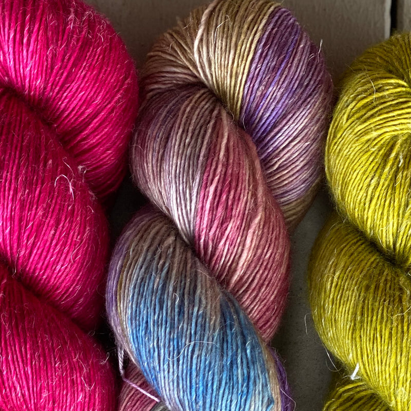 Trio of Merino Linen (fingering weight), Bodacious Berry, The Language of Flowers & William's Pear