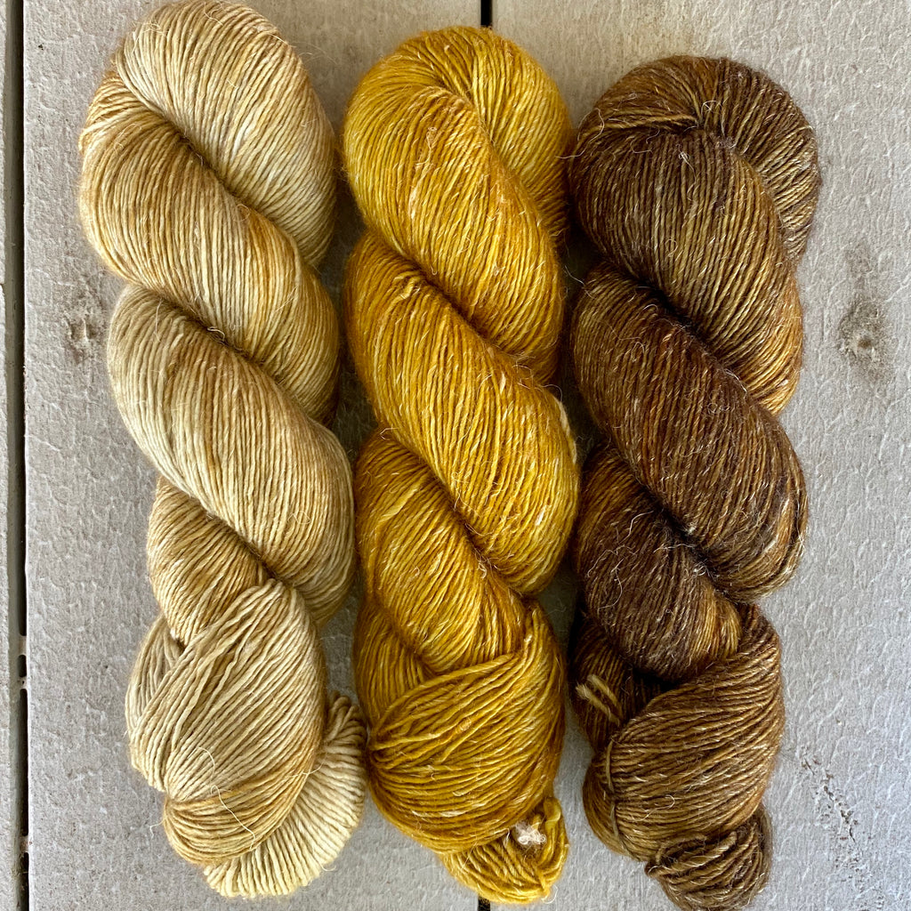 Trio of Merino Linen (fingering weight), Wheat, Ochre & Oil Rubbed Bronze