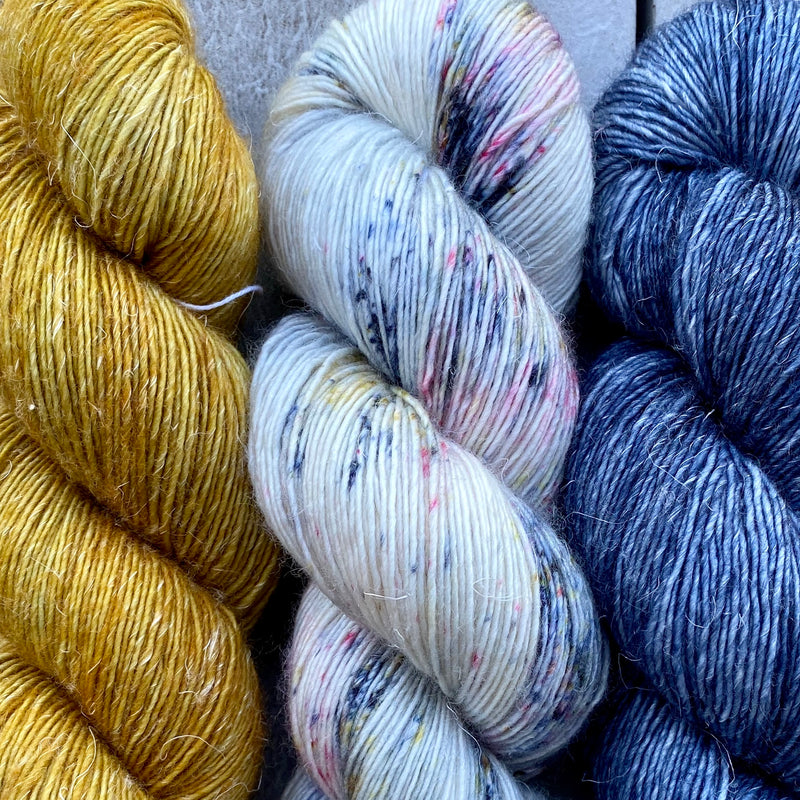 Trio of Merino Linen (fingering weight), Ochre, Seaside & Blue Moon