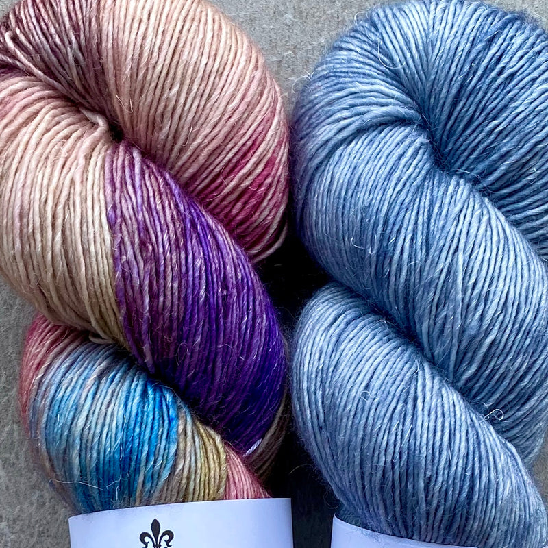 Duo Kit, The Language of Flowers & Blue Heather, Merino Linen, Two Skeins