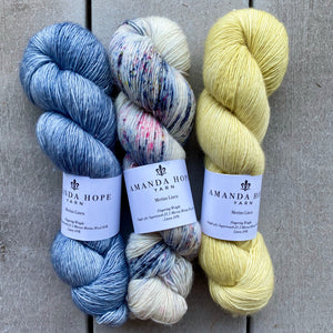 Trio of Merino Linen (fingering weight), Blue Heather, Seaside & Limoncello