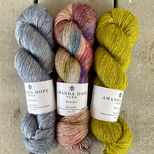 Trio of Merino Linen (fingering weight), Blue Heather, The Language of Flowers & William's Pear