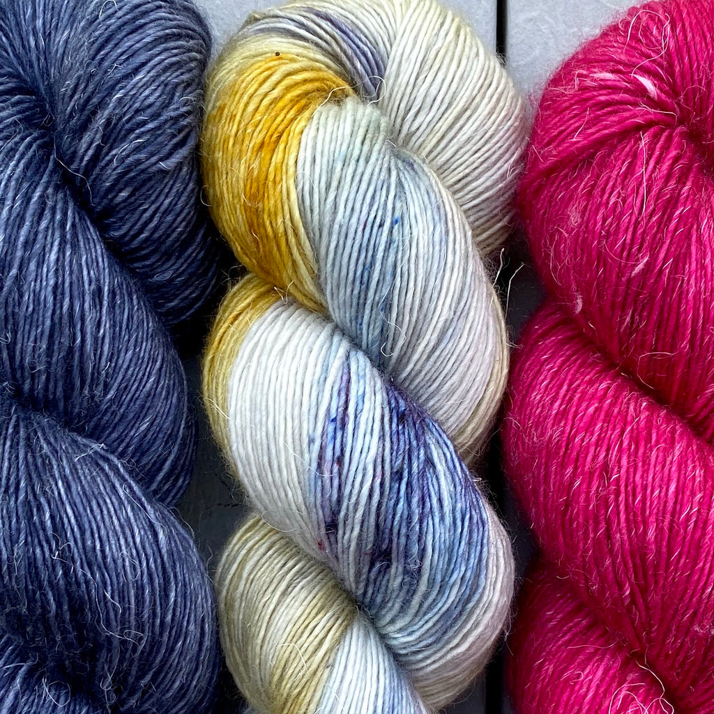 Trio of Merino Linen (fingering weight), Blue Moon, Put on A Happy Face & Bodacious Berry